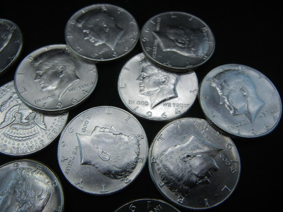 20 1964 Kennedy Half Dollars. 90% Silver. All Coins are - 4