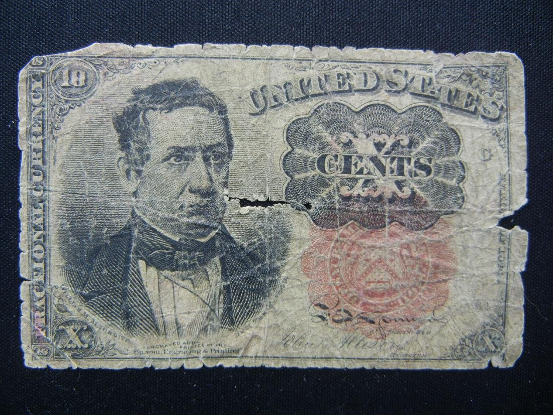 1874 Fractional 10 cent note. COIN SHORTAGE years!