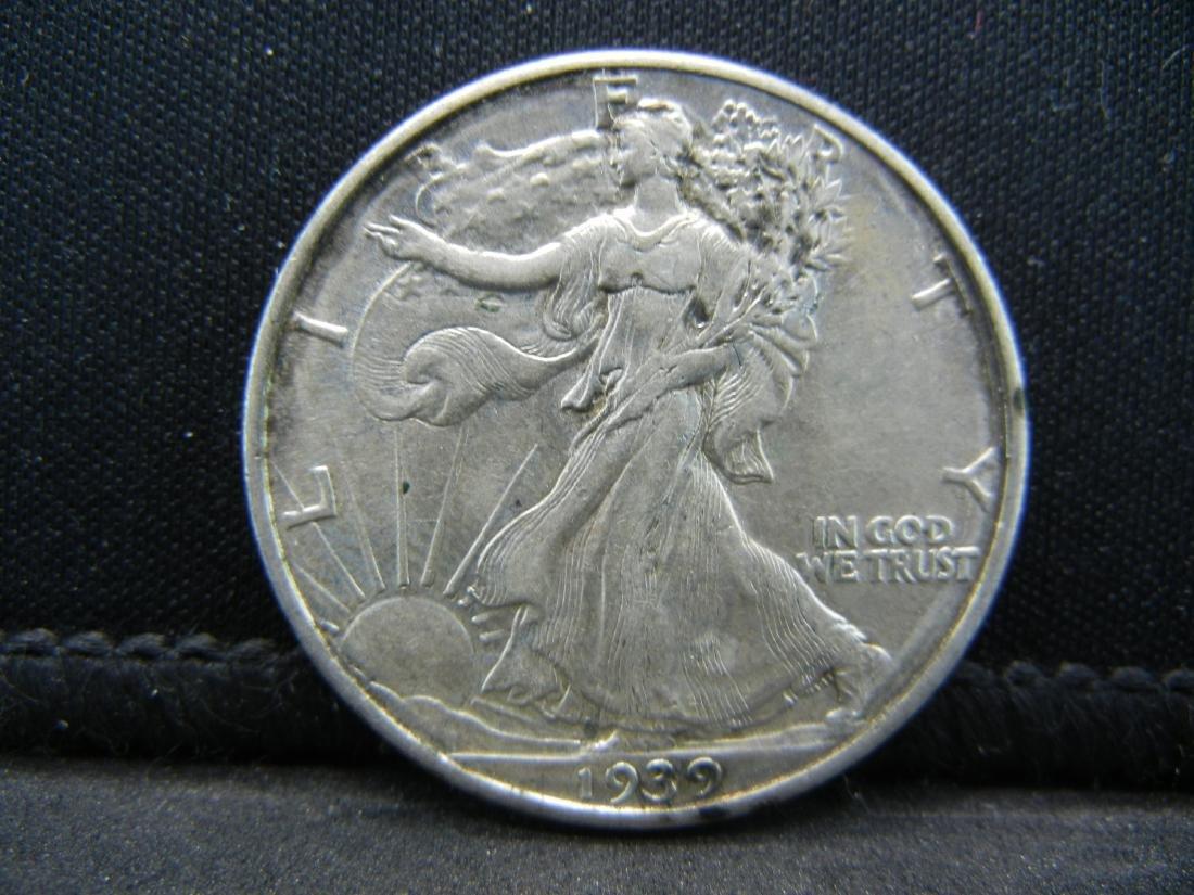 1939 Walking Liberty Half Dollar, Almost Uncirculated
