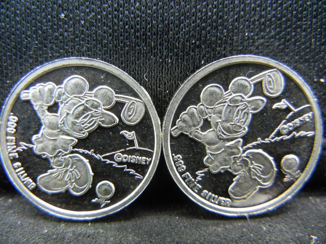 (2) DISNEY .999 Fine Silver Coins