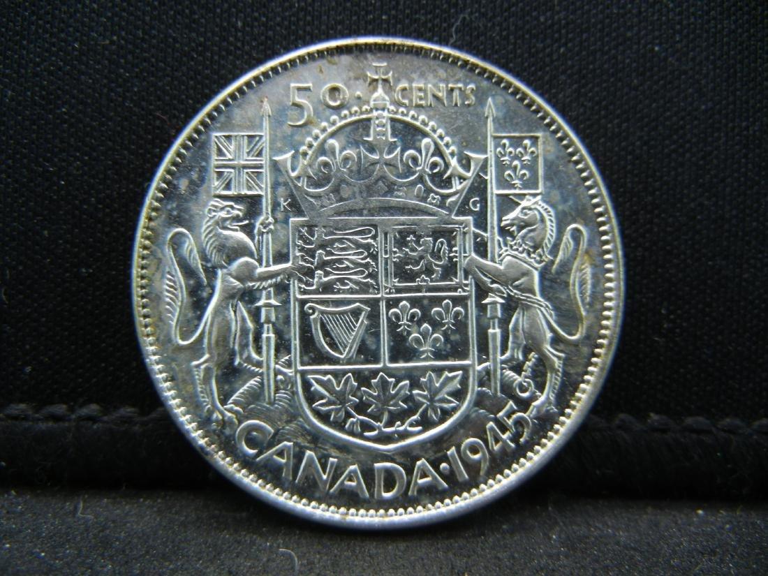 1945 Canada 80% Uncirculated Silver Half Dollar.