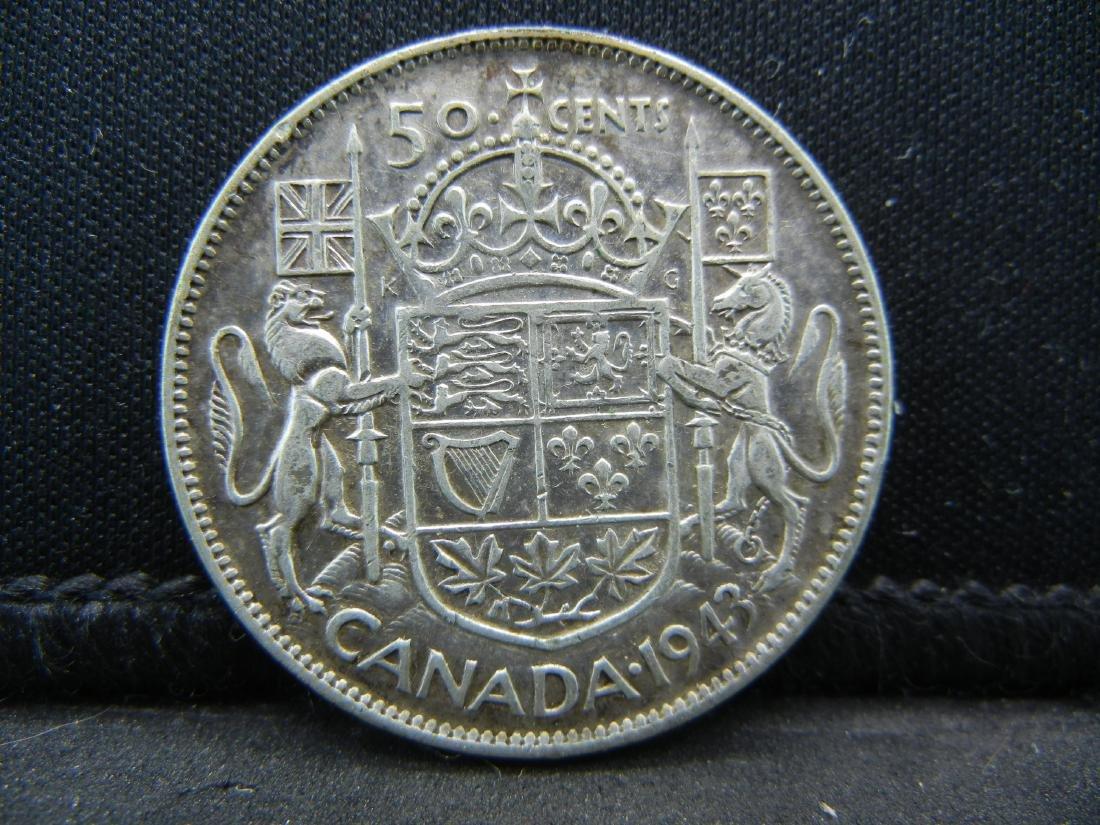 1943 Canada 50 Cents 80% Silver Half Dollar, Weighs