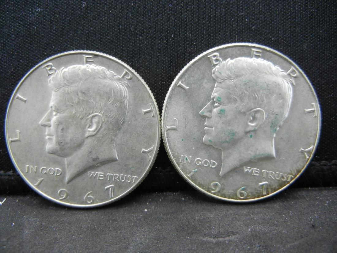 (2) 1967 Silver Kenendy Dollars - 40% Silver