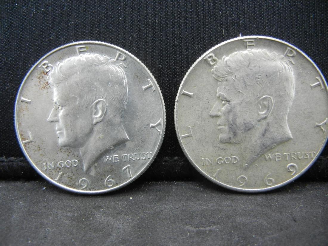 1967/1969-D Silver Kennedy Half Dollars - 40% Silver