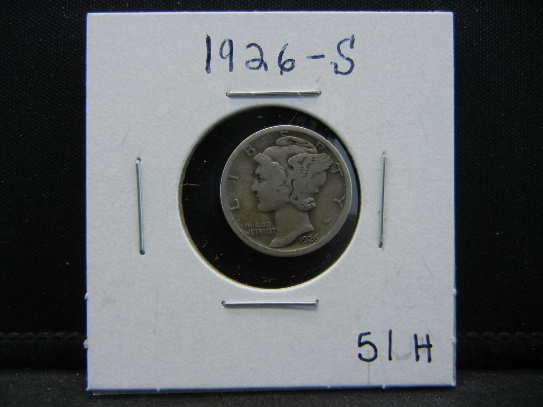 1926-S KEY DATE Mercury Dime. Fine - 3