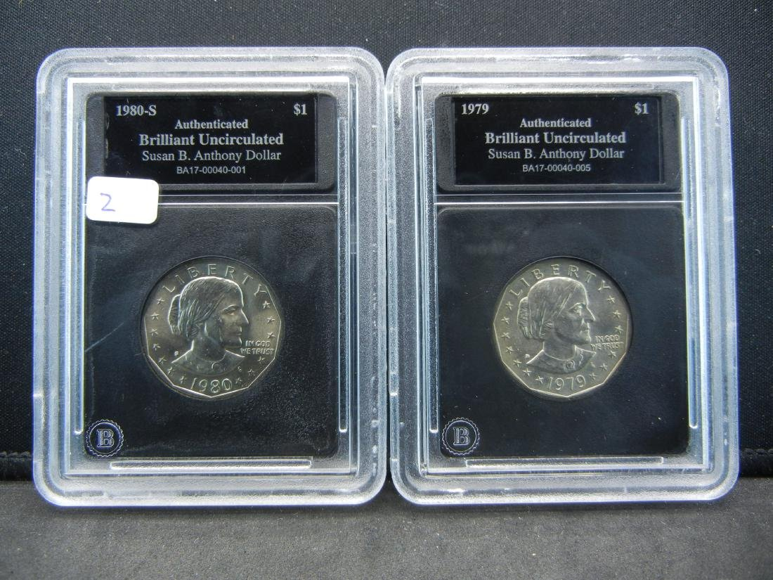 1979 and 1980-S Susan B  Anthony Dollars
