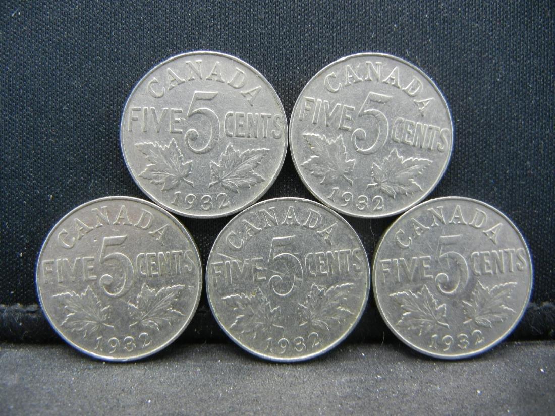(5), 1932 CANADIAN FIVE CENT'S, NICE-UNC GRADE'S!