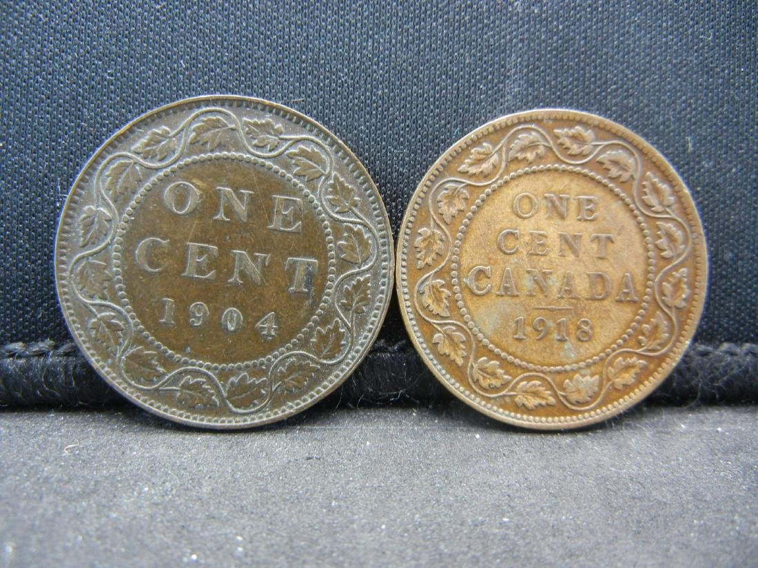 (2), CANADIAN ONE CENT'S 1904 & 1918, OVER 1 CENTURY