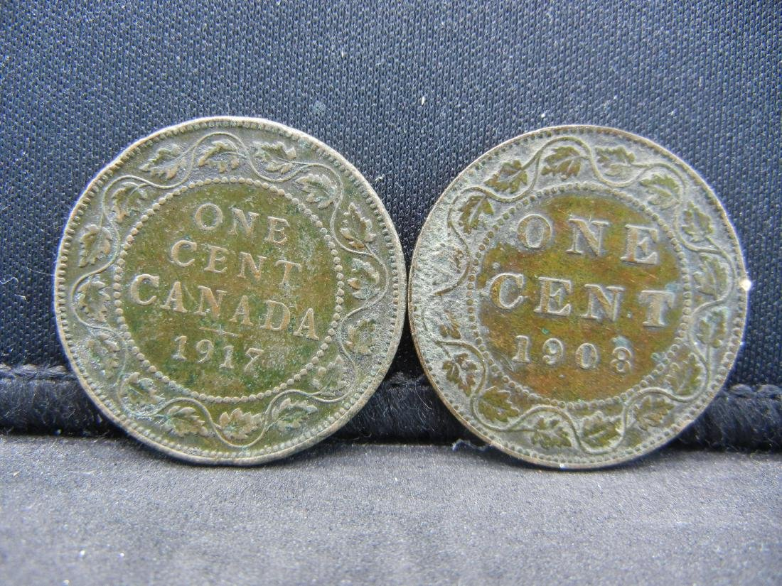 (2), CANADIAN ONE CENT'S 1908 & 1917, OVER 1 CENTURY