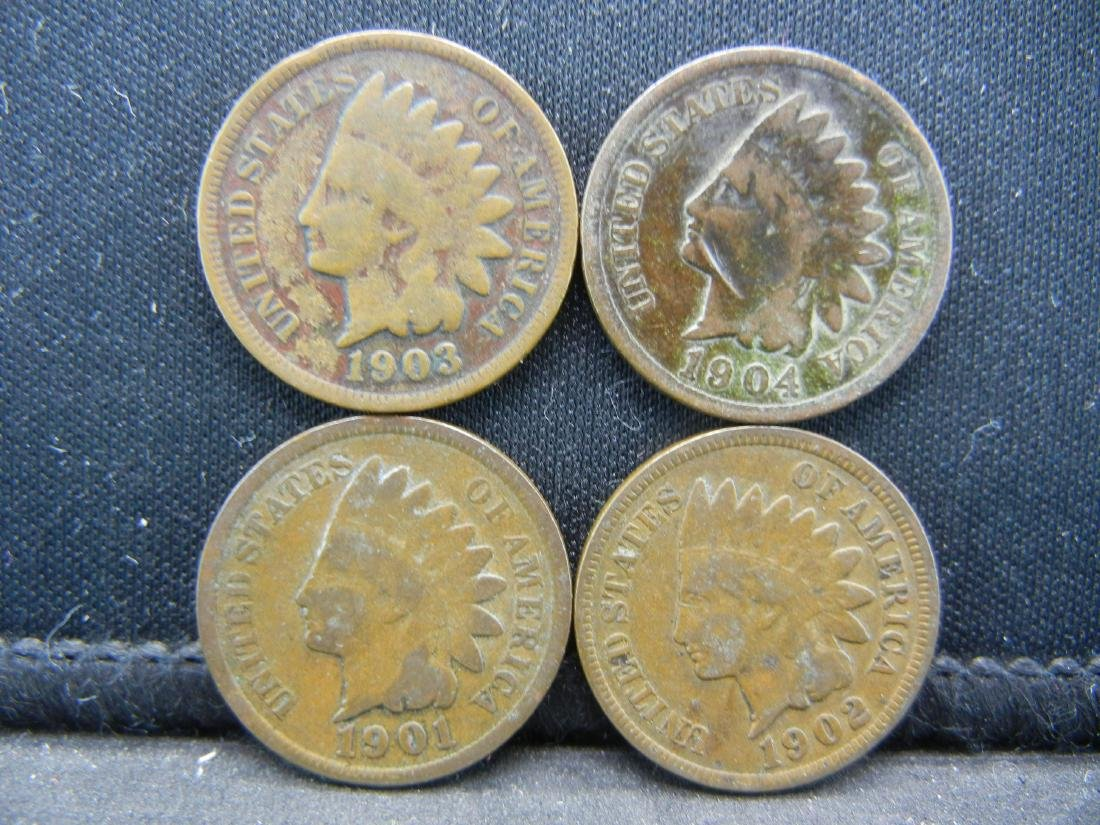 (4) 1900's Indian Head Cents
