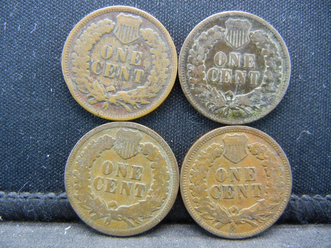 (4) 1900's Indian Head Cents - 2