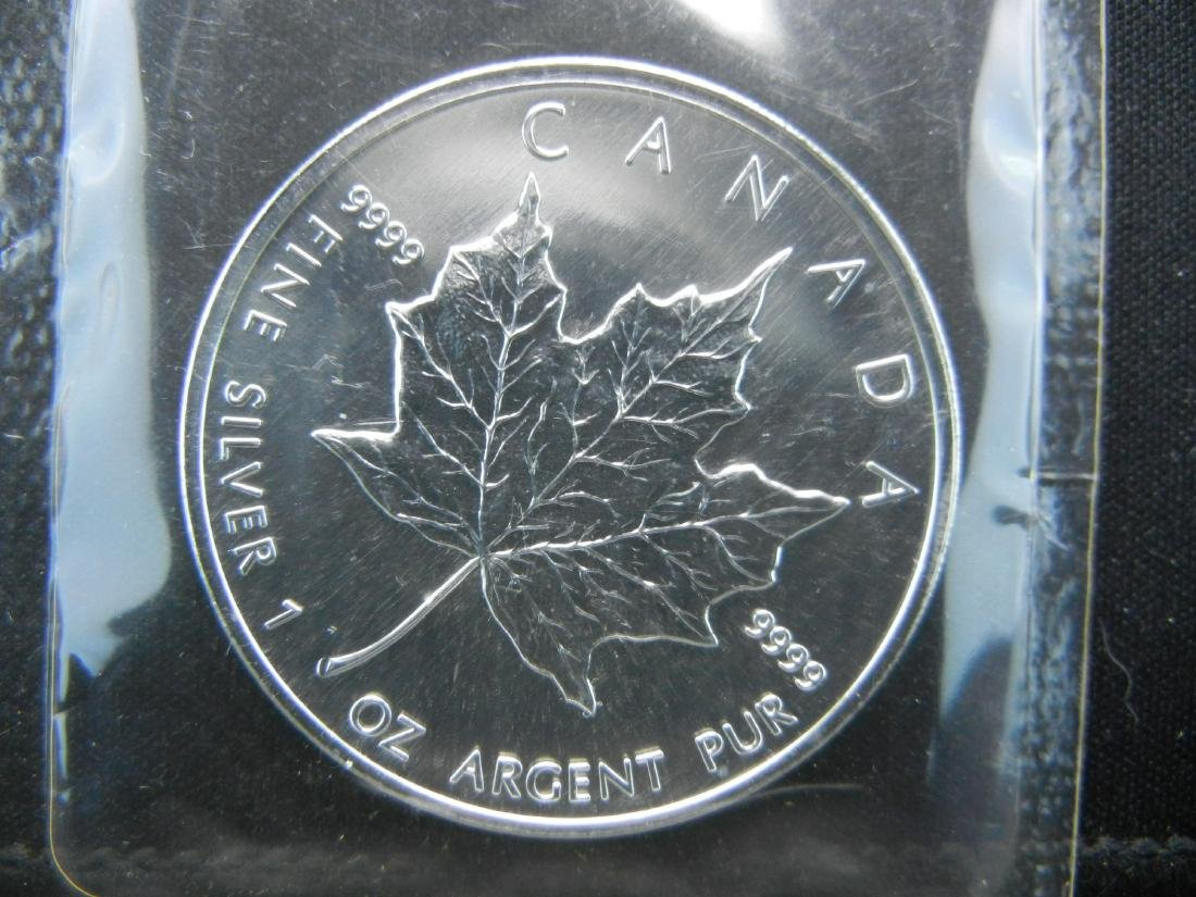 2002 CANADIAN MAPLE LEAF, 1 OUNCE, .9999 PURE SILVER, - 3