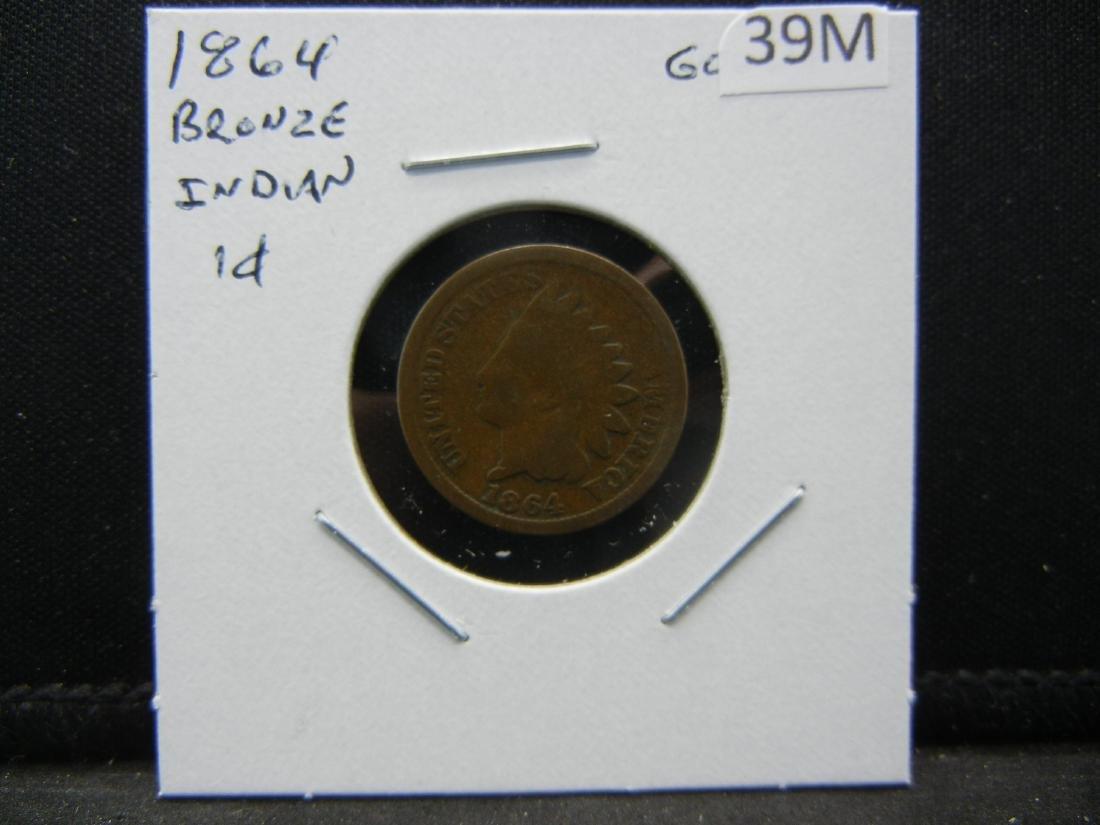 1864 Bronze Indian Head Cent - 3
