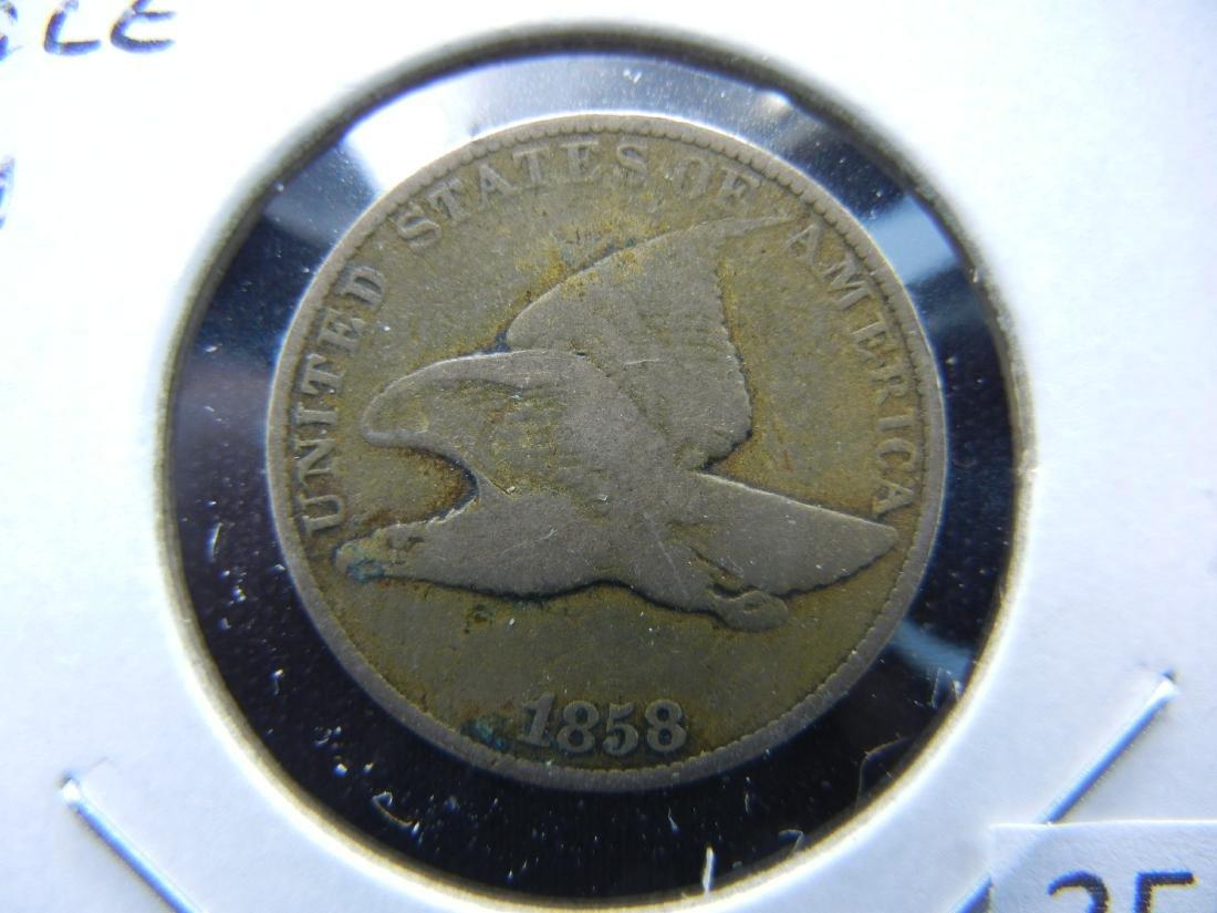 1858 Flying Eagle Cent .  Fine.  Large Letter.