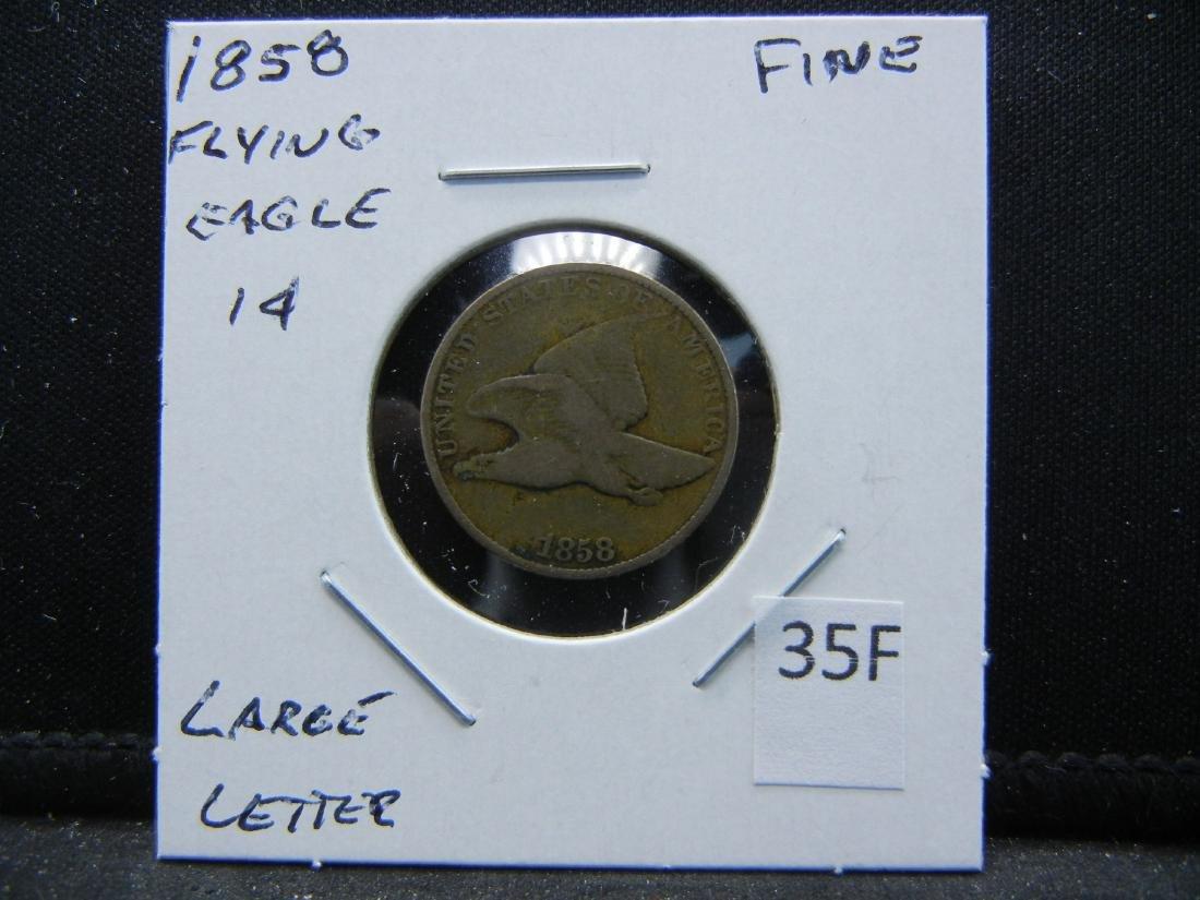 1858 Flying Eagle Cent .  Fine.  Large Letter. - 3