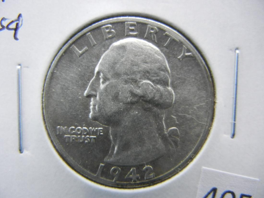 1942-S Washington Quarter Dollar .  AU.