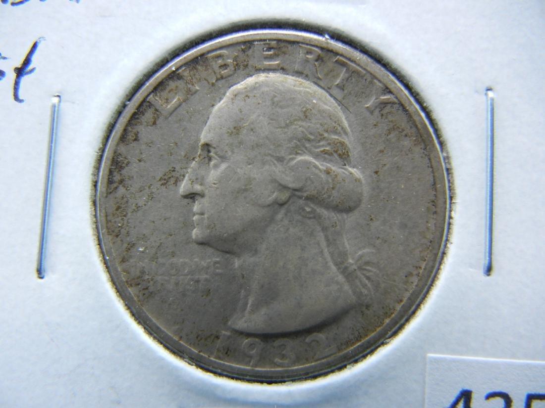 1932 Washington Quarter Dollar .  AU+.
