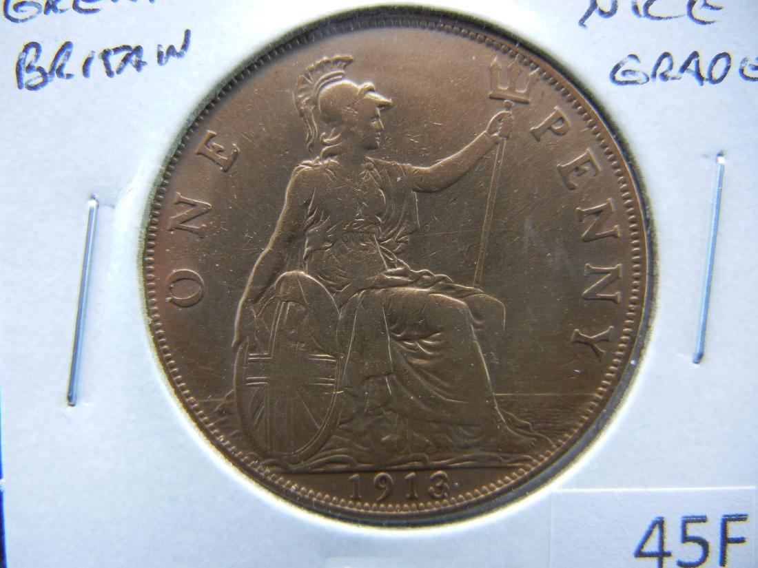 1913 Great Britain Penny.  Nice Grade.