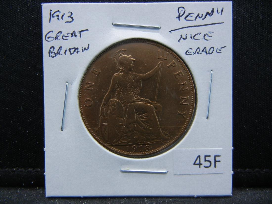1913 Great Britain Penny.  Nice Grade. - 3