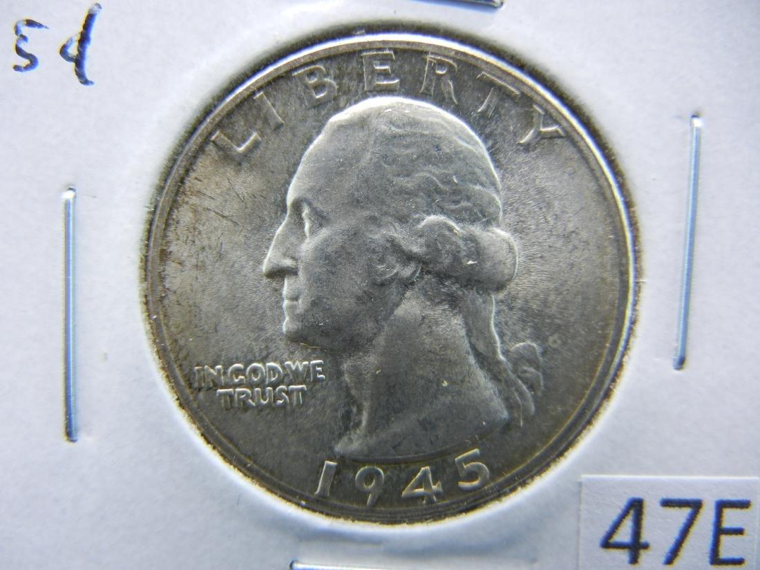 1945-S Washington Quarter Dollar .  BU.