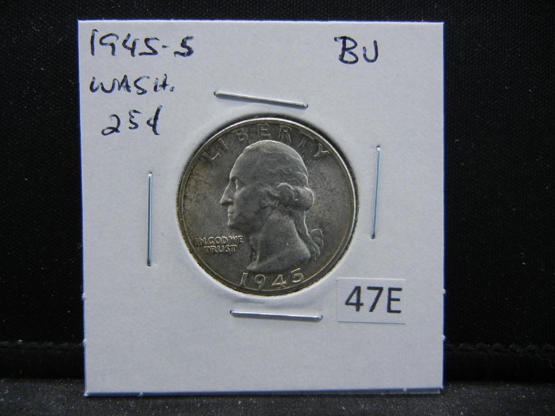 1945-S Washington Quarter Dollar .  BU. - 3
