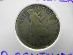 1918 Silver 20 Centavos Phillipines