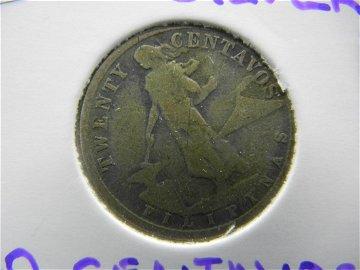 1918 Silver 20 Centavos. Phillipines