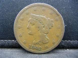 1842 Braided Hair Large Cent