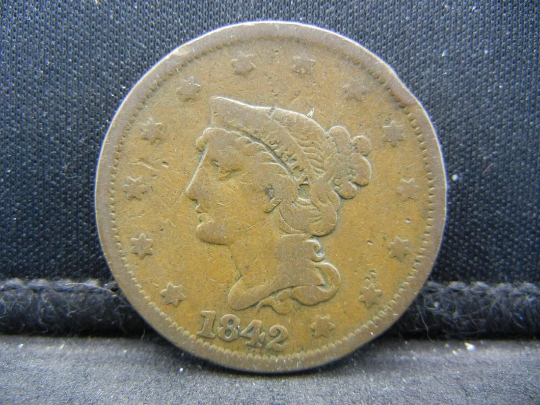 1842 Braided Hair Large Cent.