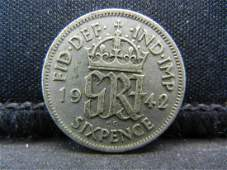 1942 Great Britain 6 Pence 50 Silver Coin Weighs 009