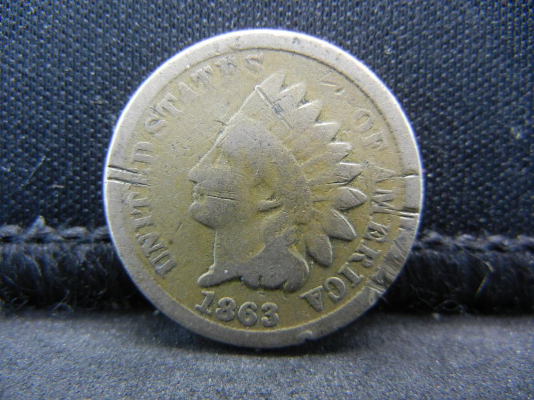 1863 Copper Nickel Indian Head Cent. Civil War Year.