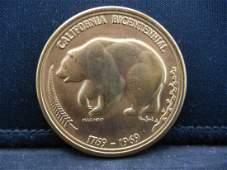 1969 Californai Bicentienal Medal the Golden Land Gem