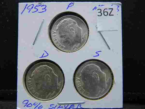 1953-P, D, S Roosevelt Dimes