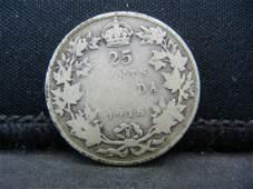 1918 Canada Sterling 925 Silver Quarter Coin