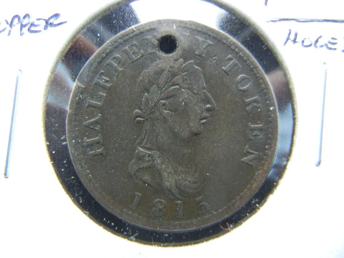 1815 British Copper 1/2 Penny Token.  Holed.  Rare.