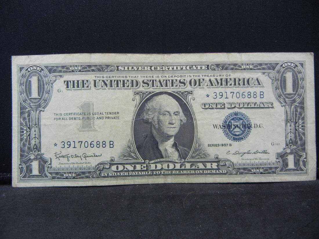 1957 B Star Note One Dollar Silver Certificate