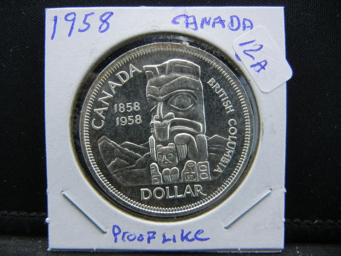 1958 Canada Totem Pole Silver Dollar.   Tis a really ni