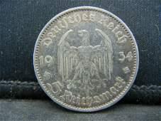 1934 Silver 5 Reichsmark German Nazi Coin