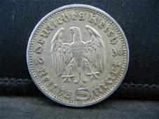 1936 Silver 5 Reichsmark German nazi Coin