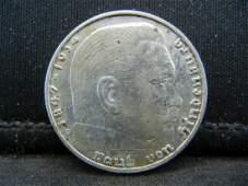 1938 Silver 2 Reichsmark German Nazi Coin