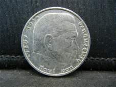 1939 Silver 2 Reichsmark German Nazi Coin