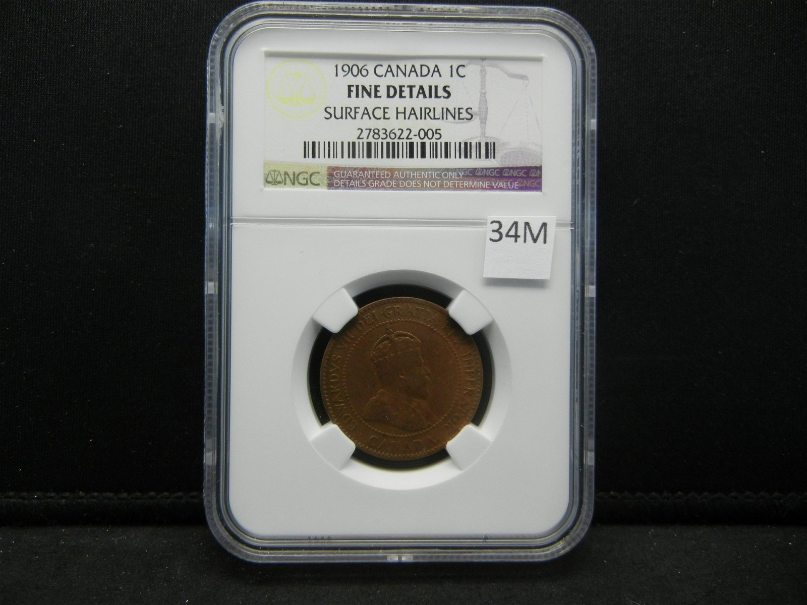 1906 Canada One Cent  NGC Fine Details  Surface