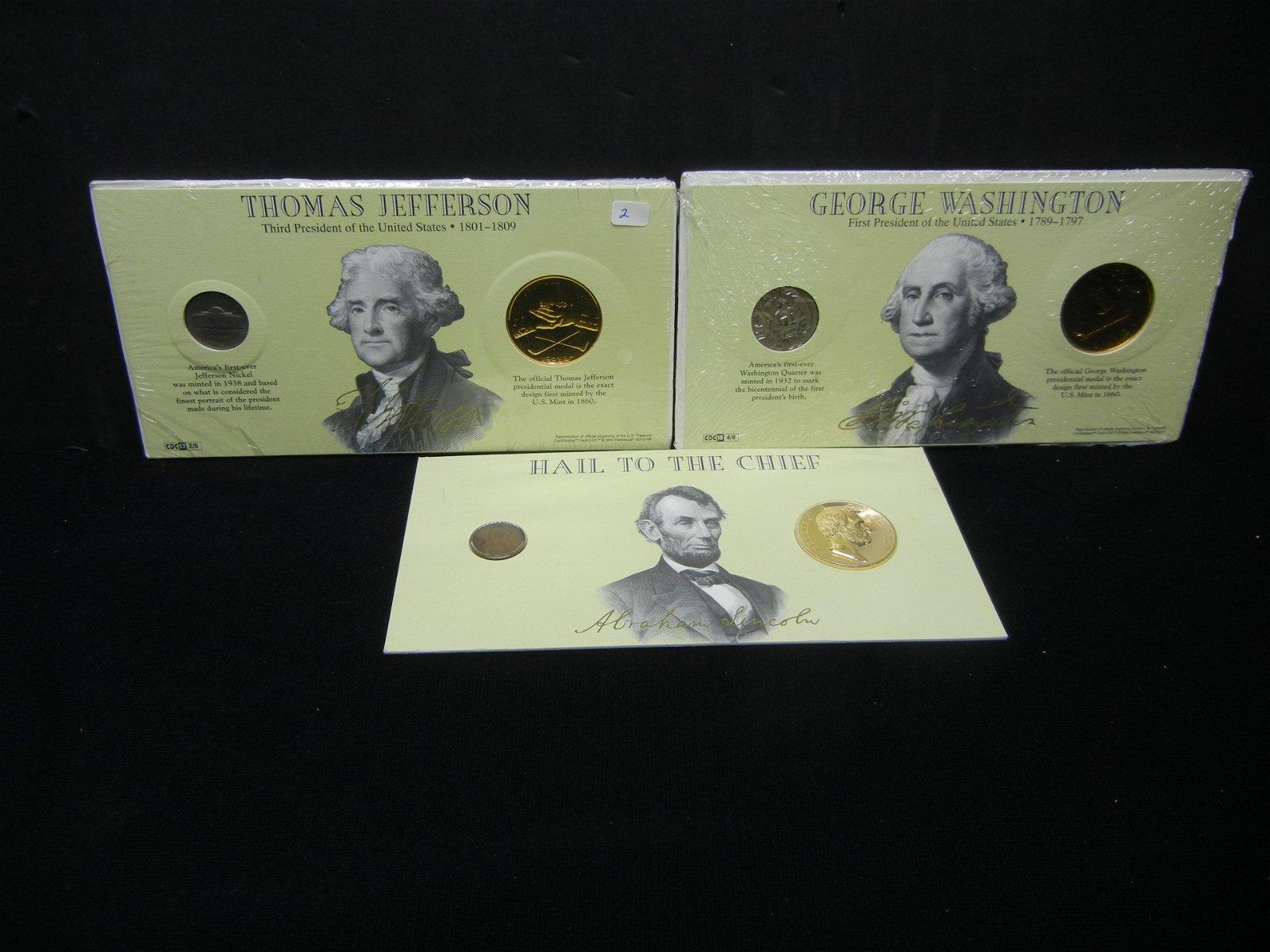 (3) Presidential Medals plus coins:  Washington,