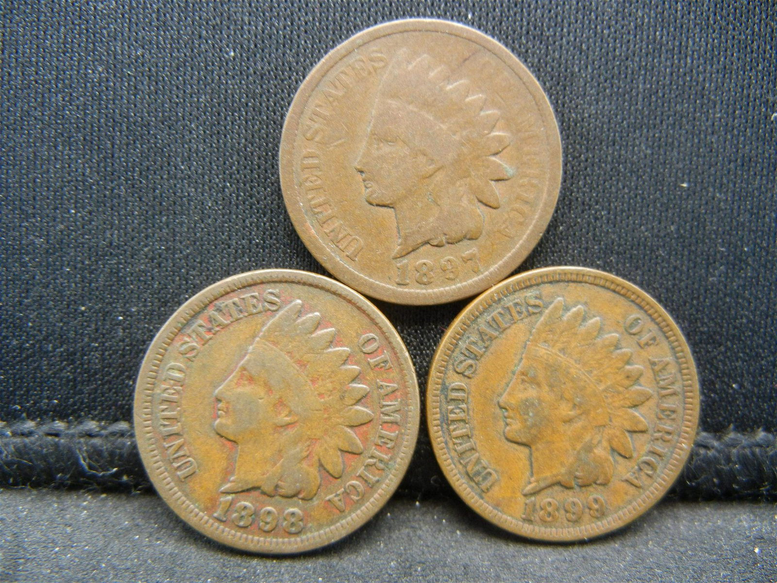 1897 1898 1899 Indian Head Cents.