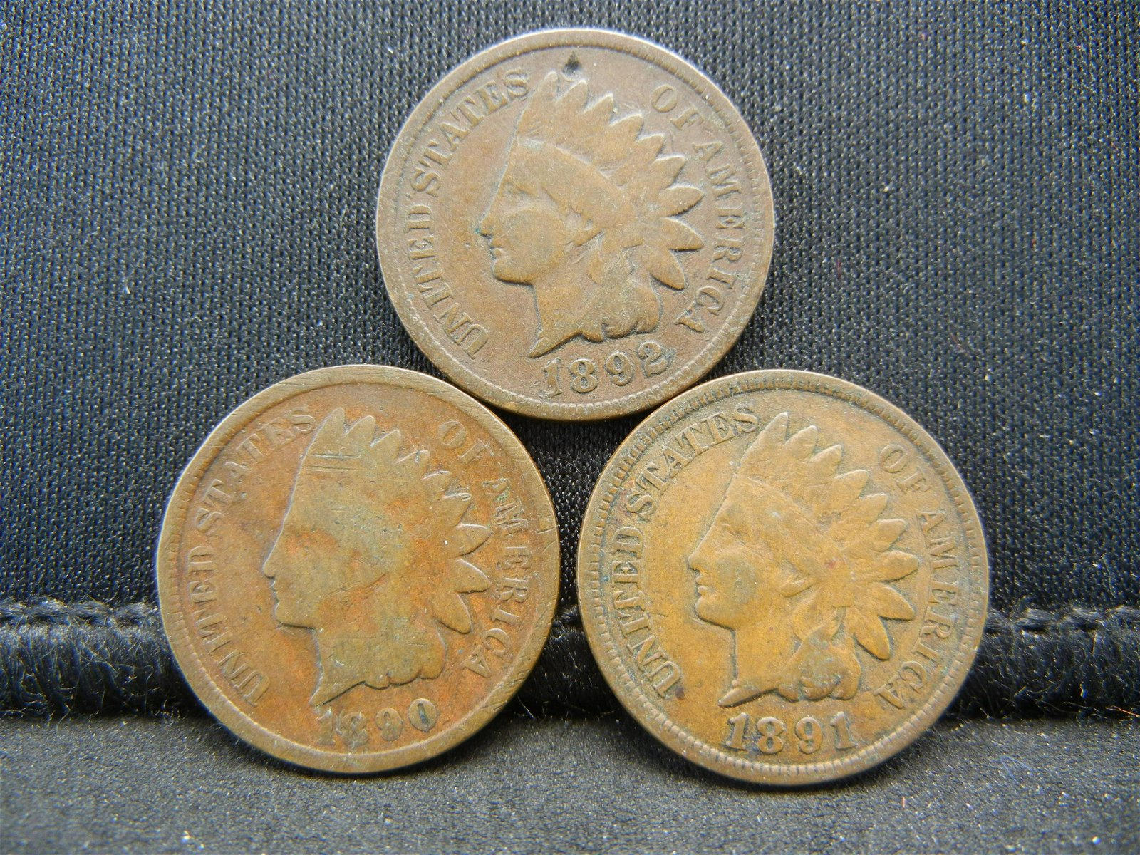 1890 1891 1892 Indian Head Cents.