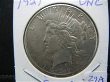 1927 Peace Dollar  Uncirculated  Very Low Mintage