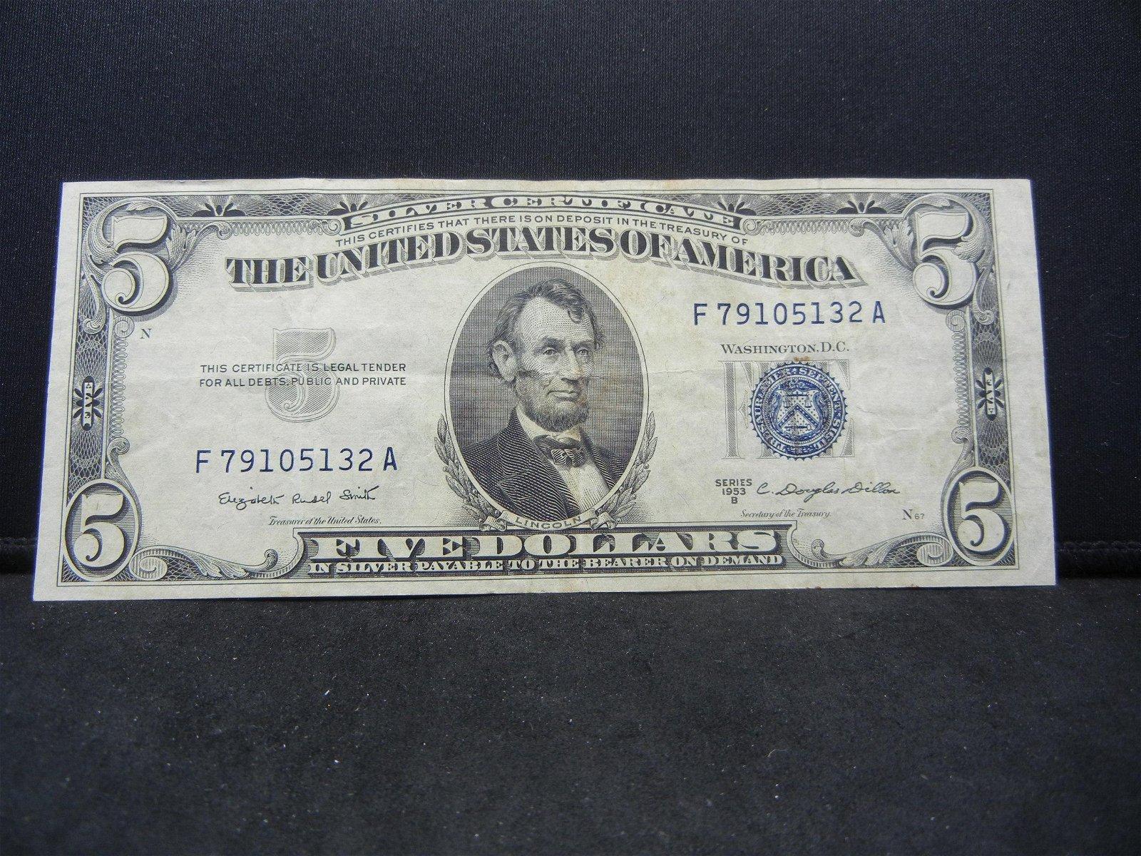 1953-B $5 US Silver Certificate