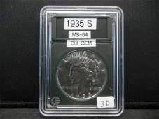 1935S Peace Dollar Rare in this condition BU GEM