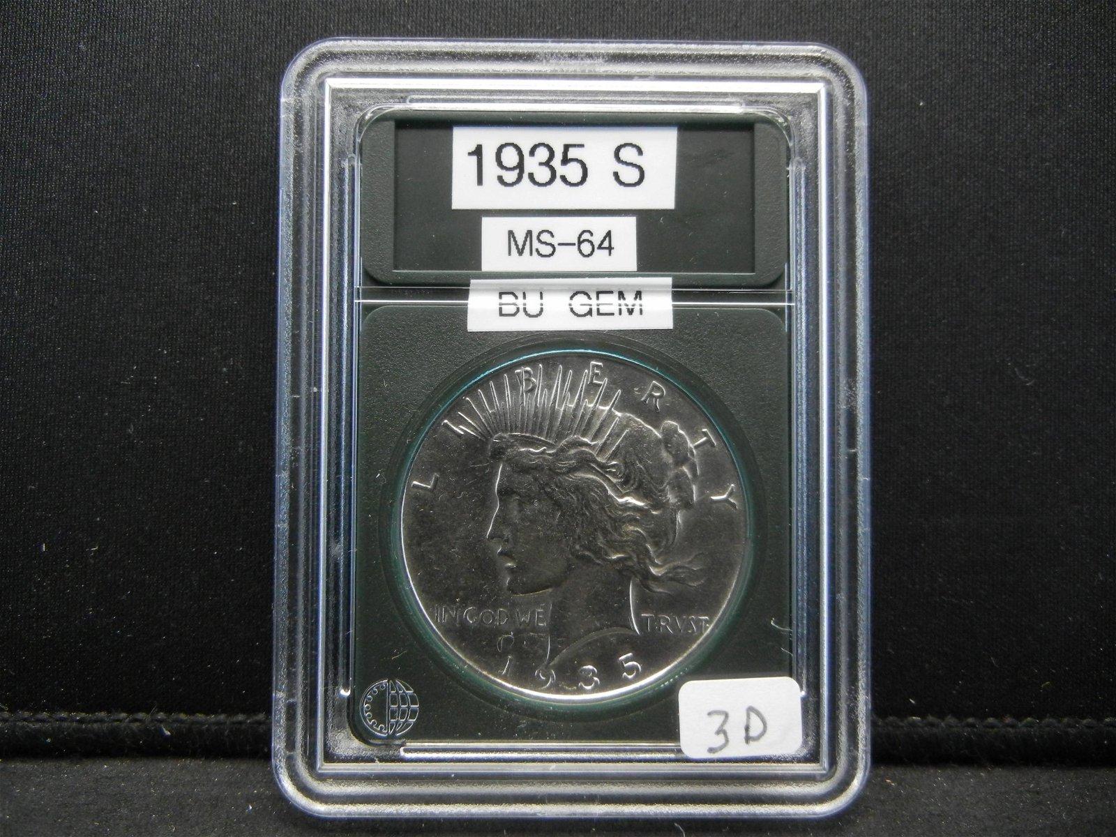 1935-S Peace Dollar. Rare in this condition, BU GEM