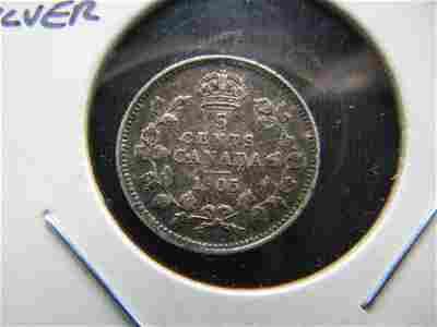 1905 Canada 5 Cent Silver
